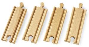 BRIO Gerade kurze Gleise 4 Stück, 108 mm, Holz, passend zu allen Briobahnen 40233334