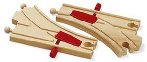 BRIO Mechanische Weichen 2 Stück, 144 mm, Holz, passend zu allen Briobahnen 40233344