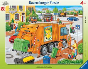 Ravensburger Puzzle Müllabfuhr 35 Teile, Rahmenpuzzle, 32.5x24.5 cm, ab 4 Jahren 63468