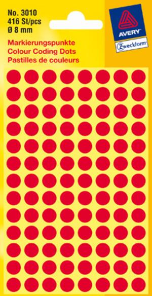 AVERY Zweckform 3010 Markierungspunkte, Ø 8 mm, 4 Bogen/416 Etiketten, rot 3010