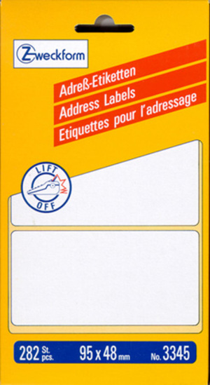AVERY Zweckform 3345 Adress-Etiketten, 95 x 48 mm, 1 Bogen/282 Etiketten, weiss 3345