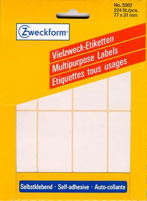 AVERY Zweckform 3362 Universal-Etiketten, 77 x 31 mm, 38 Bogen/228 Etiketten, weiss 3362