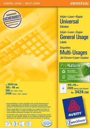 AVERY Zweckform 3424-200 Universal-Etiketten, 105 x 48 mm, Deutsche Post INTERNETMARKE, 220 Bogen/2.640 Etiketten, weiss 3424-200