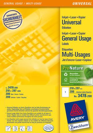 AVERY Zweckform 3478-200 Universal-Etiketten, 210 x 297 mm, 220 Bogen/220 Etiketten, weiss 3478-200