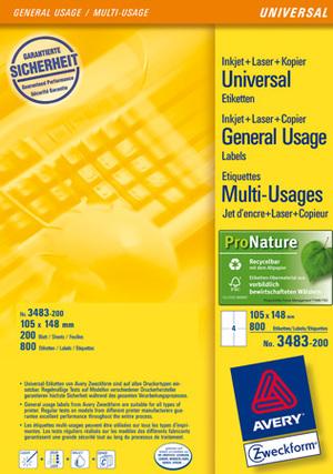 AVERY Zweckform 3483-200 Universal-Etiketten, 105 x 148 mm, Deutsche Post INTERNETMARKE, 220 Bogen/880 Etiketten, weiss 3483-200
