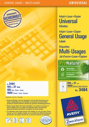 AVERY Zweckform 3484 Universal-Etiketten, 105 x 37 mm, 100 Bogen/1.600 Etiketten, weiss 3484