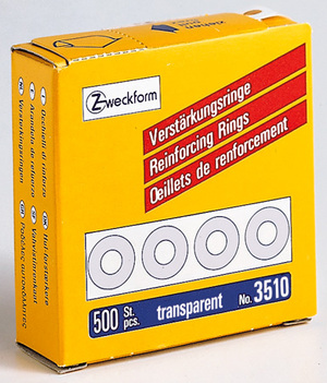 AVERY Zweckform 3510 Verstärkungs Ringe, Ø 13 mm, 1 Rolle/500 Verstärkungsringe, transparent 3510