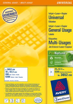 AVERY Zweckform 3652-200 Universal-Etiketten, 70 x 42,3 mm, Deutsche Post INTERNETMARKE, 220 Bogen/4.620 Etiketten, weiss 3652-200