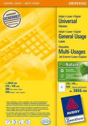 AVERY Zweckform 3655-200 Universal-Etiketten, 210 x 148 mm, DHL Online Frankierung, 220 Bogen/440 Etiketten, weiss 3655-200