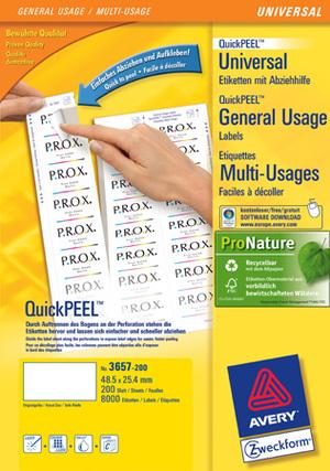 AVERY Zweckform 3657-200 Universal-Etiketten, 48,5 x 25,4 mm, 220 Bogen/8.800 Etiketten, weiss 3657-200