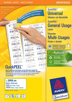 AVERY Zweckform 3658-200 Universal-Etiketten, 64,6 x 33,8 mm, 220 Bogen/5.280 Etiketten, weiss 3658-200