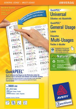 AVERY Zweckform 3659-200 Universal-Etiketten, 97 x 42,3 mm, Deutsche Post INTERNETMARKE, 220 Bogen/2.640 Etiketten, weiss 3659-200