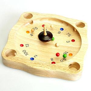 Weible Spiele Roulette-Spiel mit Kreisel und Kugeln, aus massivem Gummibaumholz, 22x22x3 cm 60203300