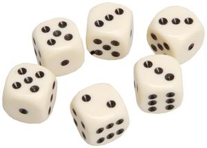 Weible Spiele Würfel elfenbein, 6 Stück 16 mm, Acrylglas, in Klarsichtbox 61930612