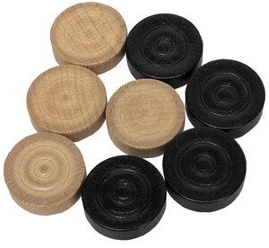 Weible Spiele Spielsteine Mühle/Dame Holz, ø 30 mm, schwarz/braun je 15 Stück 61970925