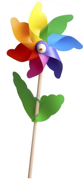 Windrad Blume klein Höhe 58 cm, ø 21 cm, mit Holzstab, Kunststoff 86910010