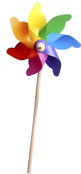Windrad Blume Jumbo Höhe 110 cm, ø 45 cm, mit Holzstab, Kunststoff 86910012