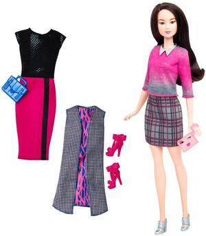 Barbie Fashionistas Style Puppe und Moden mit Karo-Rock DTD99
