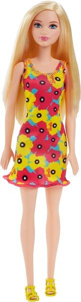 Barbie Chic im Blumenkleid mit Akzenten in Pink und Gelb DVX87