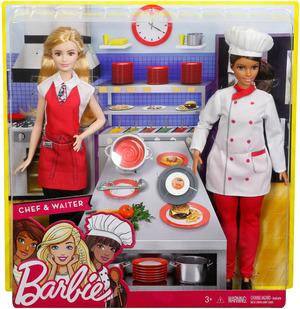 Barbie 2er Set Karriere-Puppen: Köchin und Kellnerin FCP66
