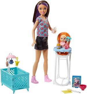 """Barbie """"Skipper Babysitters Inc."""" Puppen und Hochstuhl Spielset (brünett) FHY98"""