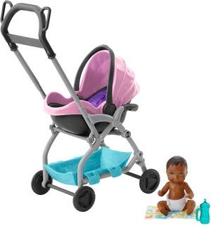 Barbie Skipper Babysitters Inc. Puppe und Spielset, Kleine Baby-Puppe mit 2-in-1 Buggy FXG95