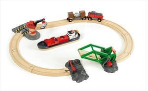 BRIO Bahn Set Container Hafen 16 Teile, Holz, Kunststoff, 510x600 mm, Batterielok 40233061