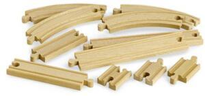 BRIO Schienensortiment klein 11 Teile, Holz, 54-216 mm, passend zu allen Briobahnen 40233401