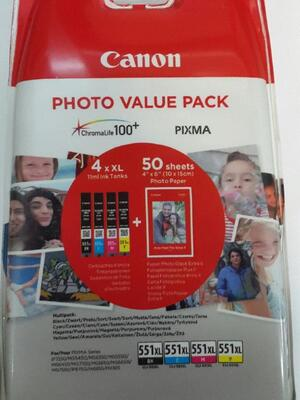 Canon CLI-551XL C/M/Y/BK + Photo Paper 6443B006