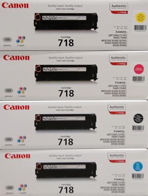 Canon bestehend aus je 1x 2662B002, 2661B002, 2660B002, 2659B002 = 4x 718 (CMYBK) 718Set