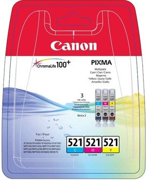 CLI-521 C/M/Y Tintenpatrone cyan, magenta und gelb Standardkapazität 3 x 9ml combopack 2934B010