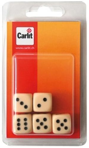 Carlit Würfel elfenbein, 18 mm 5 Stück, Kunststoff 60590314