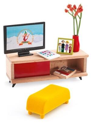 DJECO Puppenhaus Das Fernsehzimmer DJ07827