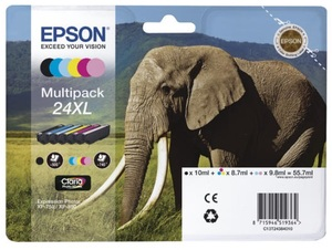 EPSON Ink Cart. Multipack Claria Photo HD C13T24384011 für Expression Photo XP750/850/950 6-colors XL C13T24384011