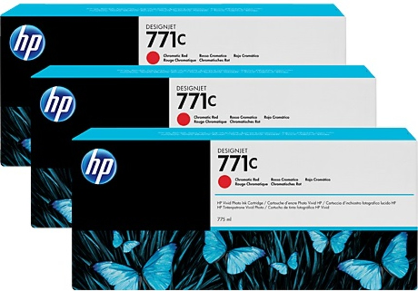 HP 711C 775-ml ChromaticRed Ink Cart 3Pk B6Y32A