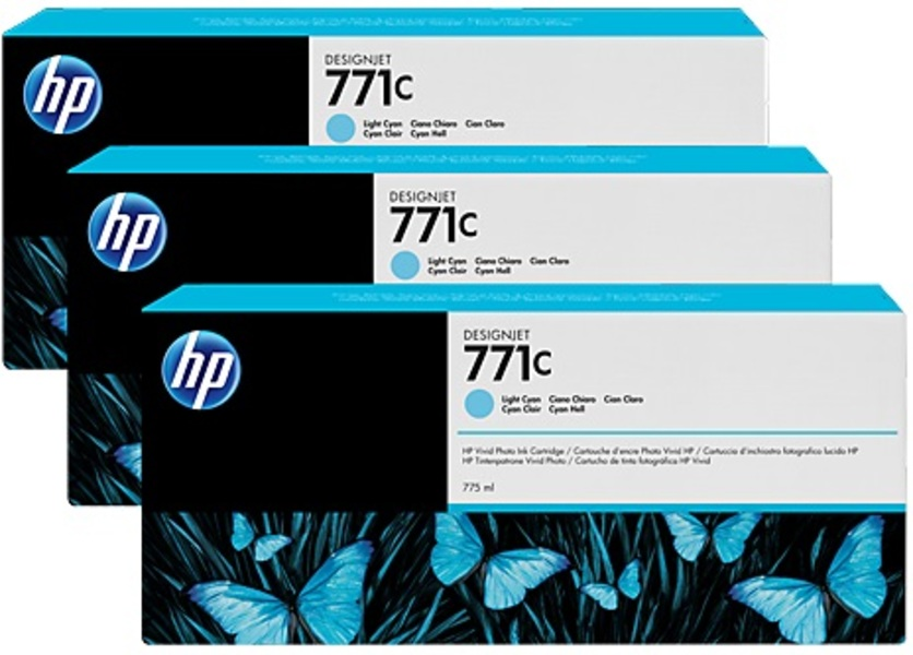 HP 711C 775-ml Light Cyan Ink Cart 3Pk B6Y36A