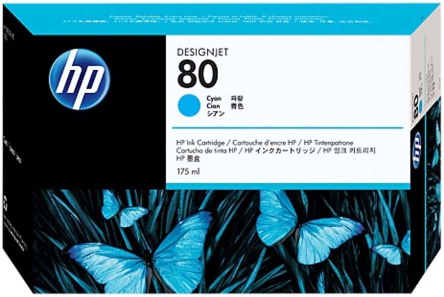 HP Ink Cartridge, 80, cyan C4872A