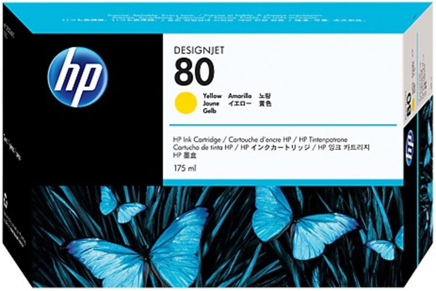 HP Ink Cartridge, 80, yellow C4873A