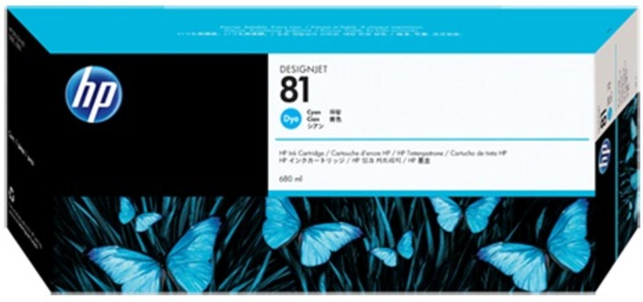 HP Ink Cartridge, 81, cyan C4931A