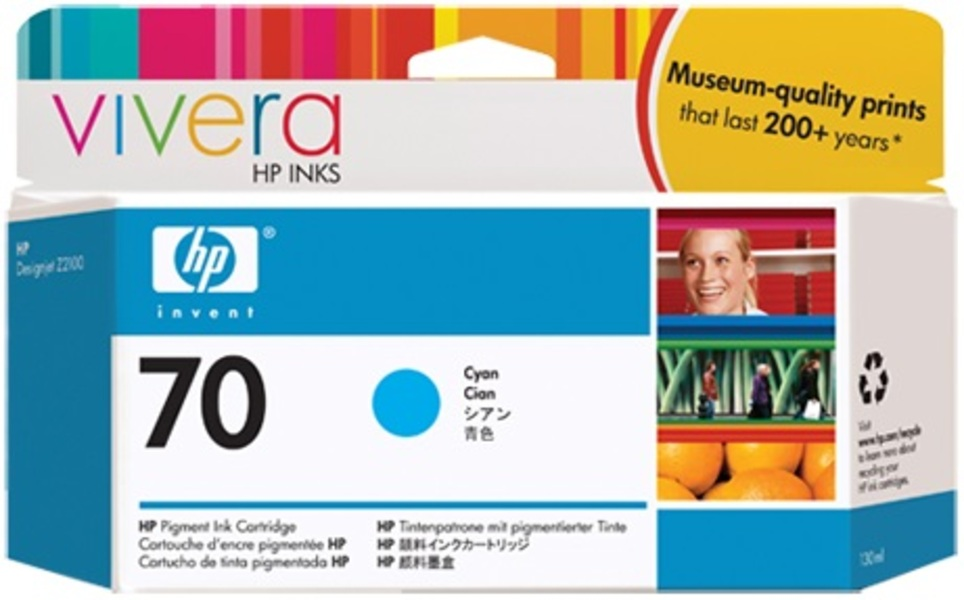 HP Ink Cartridge, 70, cyan C9452A