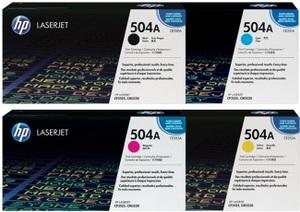 HP Toner-Set bestehend aus je 1x CE250A, CE251A, CE252A, CE253A = 4x 504A