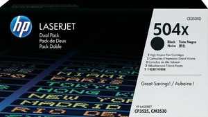 HP Toner/Black 504X Dual Pack Cartridge CE250XD