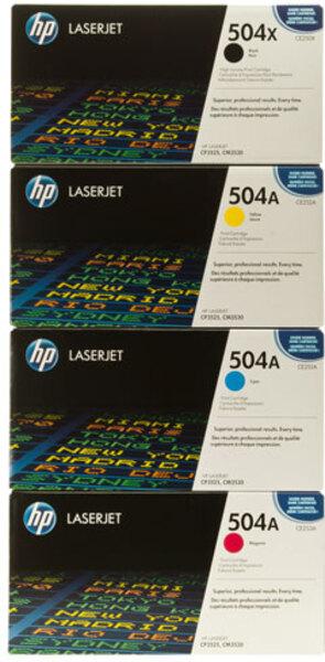 HP Toner-Set bestehend aus je 1x CE250X, CE251A, CE252A, CE253A = 1x 504X + 3x 504A