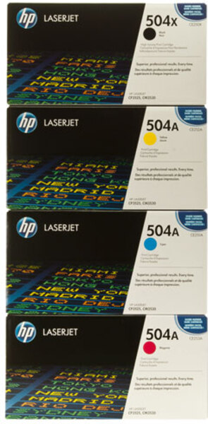 HP Toner-Set bestehend aus je 1x CE250X, CE251A, CE252A, CE253A = 1x 504X + 3x 504A CE250XSet