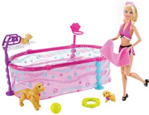 Barbie Barbie Hundebaby- Schwimmschule Spielset, 3+. Inhalt: Barbie, Hündin Taffy 57002706