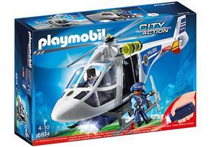 playmobil Polizei-Helikopter mit LED-Suchscheinwerfer 6874