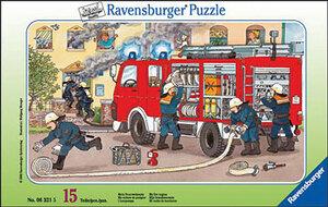Ravensburger Puzzle Mein Feuerwehrauto 15 Teile, Rahmenpuzzle, 25x14.5 cm, ab 3 Jahren 60006321