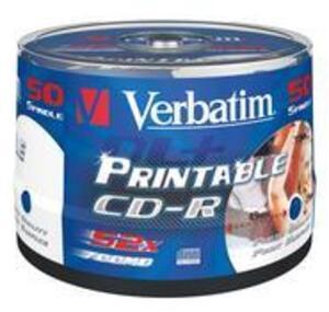 Verbatim CD-R 700MB 52xspd Spindel 50 Stück print 43438