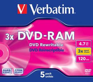Verbatim DVD-RAM Medien 4.7GB, 3x, 5er Pack 43450