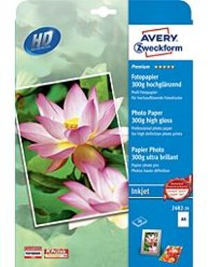 AVERY Zweckform 2482-20 Premium Inkjet Fotopapier, DIN A4, einseitig beschichtet, 300 g/m², 20 Blatt 2482-20